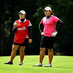 Ariya and Moriya Jutanugarn during the quarterfinals at the 112th U. S. Women's Amateur Championship in Cleveland.