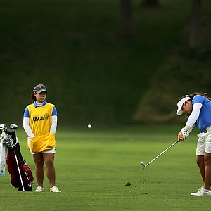 Ariya Jutanugarn  with her caddie/sister Moriya during Quarterfinals at the 63rd U. S.  Girls' Junior Championship.