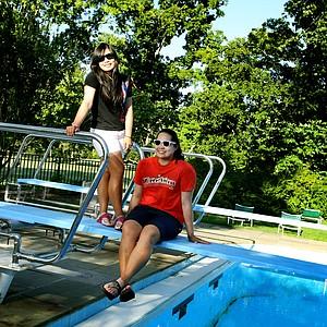 Moriya, left, and Ariya Jutanugarn show off their fun personalities during the Women's Amateur in Cleveland.