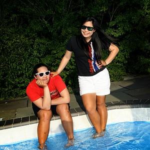 Ariya Jutanugarn, left, with her older sister Moriya Jutanugarn goof around duringa  recent Golfweek photo shoot in Cleveland.