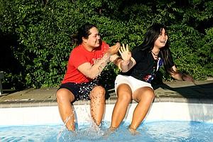 Ariya and Moriya Jutanugarn have fun during a recent photo shoot at the 2012 Women's Amateur in Cleveland.