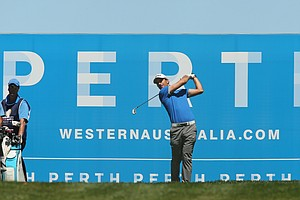 PERTH, AUSTRALIA - OCTOBER 18: Alejandro Canizares of Spain tees off on the 17th hole during day one of the Perth International at Lake Karrinyup Country Club on October 18, 2012 in Perth, Australia.