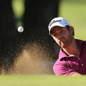 PERTH, AUSTRALIA - OCTOBER 18: Craig Hasthorpe of Australia plays out of a bunker on the 7th hole during day one of the Perth International at Lake Karrinyup Country Club on October 18, 2012 in Perth, Australia.
