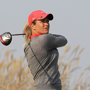 INCHEON, SOUTH KOREA - OCTOBER 19: Suzann Pettersen of Norway plays a shot on the 9th hole during the first round of KEB-HanaBank Championship at Sky 72 Golf Club Ocean Course on October 19, 2012 in Incheon, South Korea.