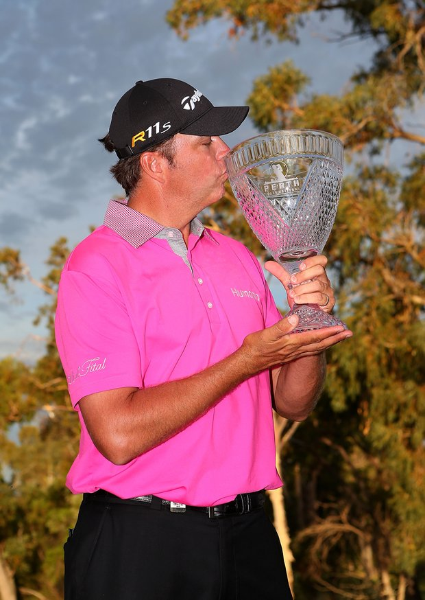 PERTH, AUSTRALIA - OCTOBER 21: Bo Van Pelt of the USA poses with the trophy after winning the Perth International at Lake Karrinyup Country Club on October 21, 2012 in Perth, Australia.
