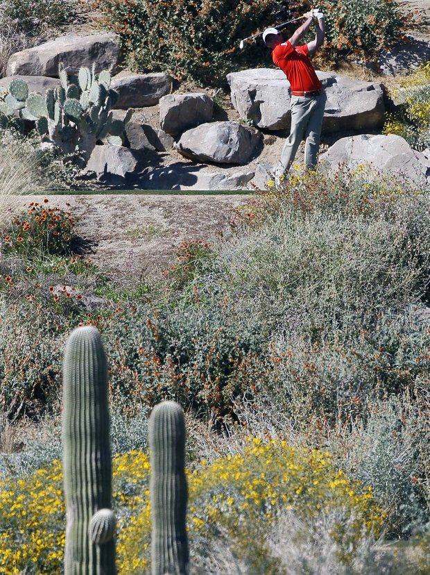 Northern Ireland's Rory McIlroy tees off the 12th hole while playing South Korea's Sang-moon Bae during the Match Play Championship golf tournament, Saturday, Feb. 25, 2012, in Marana, Ariz.