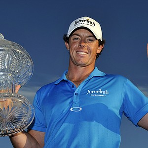 Rory McIlroy holds the trophy after winning the Honda Classic golf tournament in Palm Beach Gardens, Fla., Sunday, March 4, 2012. McIlroy became the top-ranked golfer in the world.