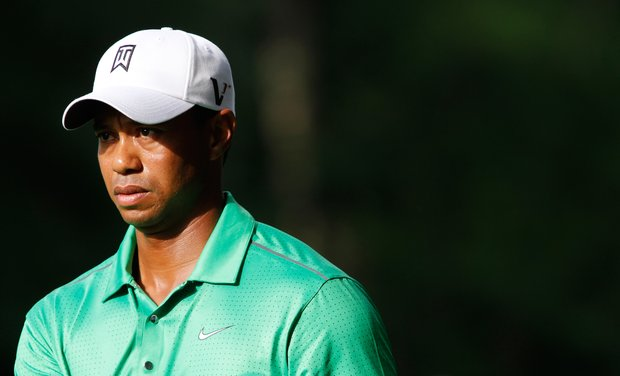 Tiger Woods looks to the 12th hole during the second round of the Wells Fargo Championship PGA golf tournament at Quail Hollow Club in Charlotte, N.C., Friday, May 4, 2012.