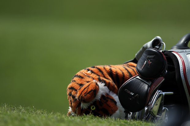 Tiger Woods's bag lies off the 14th green during the third round of the Players Championship golf tournament at TPC Sawgrass, Saturday, May 12, 2012, in Ponte Vedra Beach, Fla.