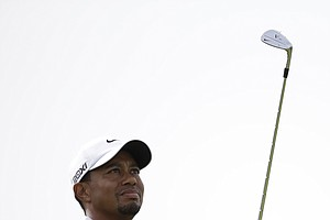 Tiger Woods of the United States plays his third round at Royal Lytham & St Annes golf club at the British Open Golf Championship, Lytham St Annes, England, Saturday, July 21, 2012.