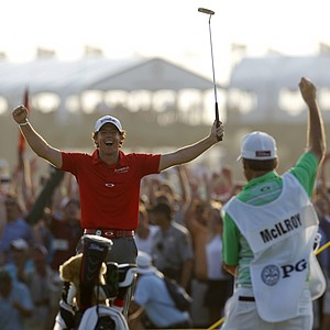 Rory McIlroy of Northern Ireland reacts to his victory after a birdie putt on the 18th green during the final round of the PGA Championship golf tournament on the Ocean Course of the Kiawah Island Golf Resort in Kiawah Island, S.C., Sunday, Aug. 12, 2012.