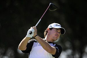 Brian Harman, tees off on the 10th hole during the third round of the McGladrey Classic PGA Tour golf tournament Saturday, Oct. 20, 2012 in St. Simons Island, Ga.