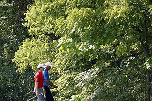 Tiger Woods, right, and Rory McIlroy, of Northern Ireland, walk across the bridge on the sixth fairway during the first round of the BMW Championship PGA golf tournament at Crooked Stick Golf Club in Carmel, Ind., Thursday, Sept. 6, 2012.