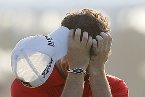 Rory McIlroy of Northern Ireland reacts to his victory after the final round of the PGA Championship golf tournament on the Ocean Course of the Kiawah Island Golf Resort in Kiawah Island, S.C., Sunday, Aug. 12, 2012.