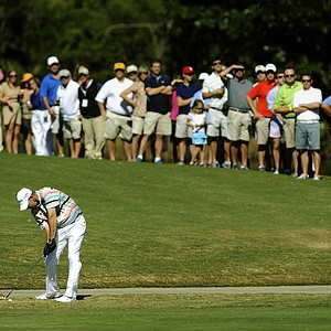 Tommy Gainey hits off the 18th fairway during the final round of the McGladrey Classic PGA Tour golf tournament on Sunday, Oct. 21, 2012, in St. Simons Island, Ga. Gainey finished 16 under par to win his first PGA tournament.