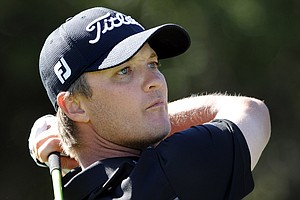 Matt Jones, of Australia, watches his shot down the 10th fairway during the third round of the McGladrey Classic PGA Tour golf tournament, Saturday, Oct. 20, 2012, in St. Simons Island, Ga.