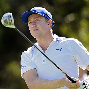 Jonas Blixt, of Sweden, watches his tee shot down the 10th fairway during the third round of the McGladrey Classic PGA Tour golf tournament Saturday, Oct. 20, 2012 in St. Simons Island, Ga.