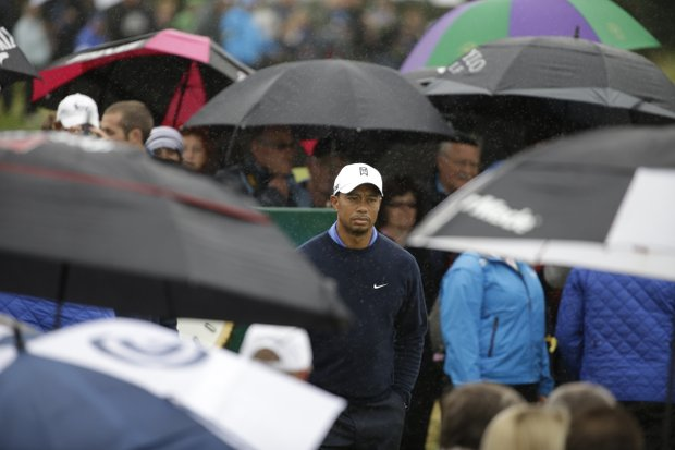 Tiger Woods of the United States in action during a practice round at Royal Lytham & St Annes golf club at the British Open Golf Championship Lytham St Annes, England Tuesday, July 17, 2012.