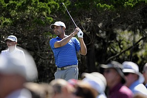 Arjun Atwal, of India, drives his ball off the second tee during the third round of the McGladrey Classic PGA Tour golf tournament Saturday, Oct. 20, 2012 in St. Simons Island, Ga.