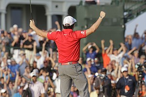 Rory McIlroy of Northern Ireland reacts to his victory on the 19th green in the final round of the PGA Championship golf tournament on the Ocean Course of the Kiawah Island Golf Resort in Kiawah Island, S.C., Sunday, Aug. 12, 2012.