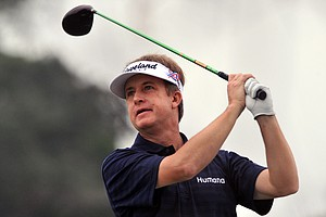 David Toms watches his shot off the 16th tee during the first round of The McGladrey Classic PGA Tour golf tournament, Thursday, Oct. 18, 2012, in St. Simons Island, Ga.