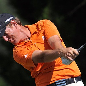Greg Owens, of England, hits his drive off the ninth tee during the first round of The McGladrey Classic PGA Tour golf tournament Thursday, Oct. 18, 2012 in St. Simons Island, Ga.