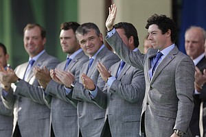 Europe's Rory McIlroy waves as he is introduced during the opening ceremony at the Ryder Cup PGA golf tournament Thursday, Sept. 27, 2012, at the Medinah Country Club in Medinah, Ill.