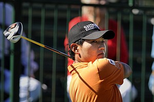 Sung Kang, of South Korea, tees off on the first hole during the second round of The McGladrey Classic PGA Tour golf tournament, Friday, Oct. 19, 2012, in St. Simons Island, Ga.