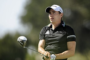 Camilo Villegas, of Columbia, watches his shot down tthe 16th fairway during the third round of the McGladrey Classic PGA Tour golf tournament Saturday, Oct. 20, 2012 in St. Simons Island, Ga.