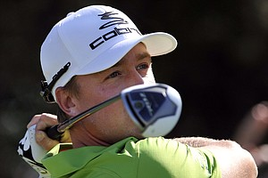 Jonas Blixt, of Sweden, tees off on the 10th hole during the second round of the McGladrey Classic PGA Tour golf tournament on Friday, Oct. 19, 2012, in St. Simons Island, Ga.