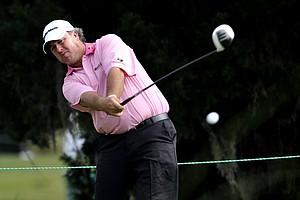 Boo Weekley tees off on the ninth hole during the second round of The McGladrey Classic PGA Tour golf tournament, Friday, Oct. 19, 2012, in St. Simons Island, Ga.