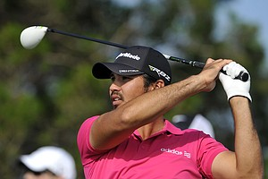Jason Day watches his tee shot down the ninth fairway during the second round of The McGladrey Classic PGA Tour golf tournament Friday, Oct. 19, 2012 in St. Simons Island, Ga.