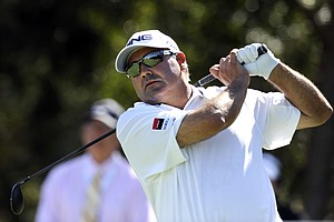 Angel Cabrera, of Argentina, watches his tee shot on the 10th hole during the third round of the McGladrey Classic PGA Tour golf tournament Saturday, Oct. 20, 2012 in St. Simons Island, Ga.