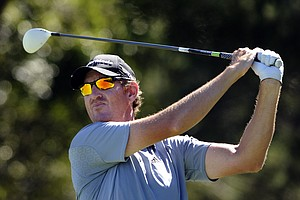 Greg Owen, of England, tees off on the 10th hole during the final round of the McGladrey Classic PGA Tour golf tournament on Sunday, Oct. 21, 2012, in St. Simons Island, Ga.