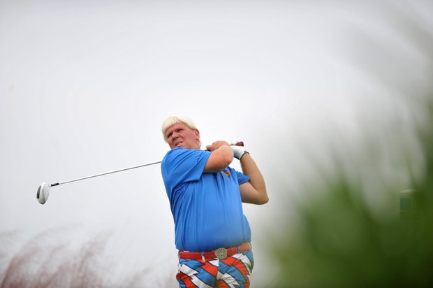 John Daly watches his drive off the 15th tee during the first round of The McGladrey Classic PGA Tour golf tournament Thursday, Oct. 18, 2012 in St. Simons Island, Ga.