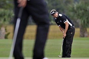 Daniel Chopra, of Sweden, reacts after missing a putt on the eighth green during the second round of The McGladrey Classic PGA Tour golf tournament Friday, Oct. 19, 2012 in St. Simons Island, Ga.