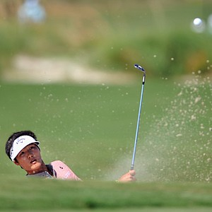Danny Lee, of South Korea, hits out of the bunker to the 18th green during the first round of The McGladrey Classic PGA Tour golf tournament, Thursday, Oct. 18, 2012, in St. Simons Island, Ga.