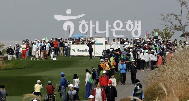 Suzann Pettersen of Norway watches her shot on the 6th hole during the final round of the LPGA Championship golf tournament at Sky72 Golf Club in Incheon, west of Seoul, South Korea, Sunday, Oct. 21, 2012. Pettersen won the HanaBank Championship on Sunday for her ninth LPGA Tour title, beating Catriona Matthew with birdie on the third hole of playoff after blowing a big lead.