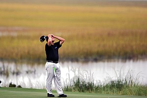 Roland Thatcher reacts to his putt on the 14th green during the first round of The McGladrey Classic PGA Tour golf tournament Thursday, Oct. 18, 2012 in St. Simons Island, Ga.