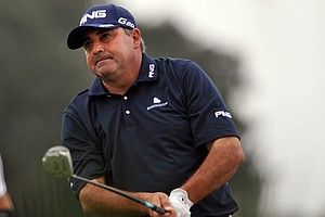 Angel Cabrera, of Argentina, watches his tee shot off the 16th tee during the first round of The McGladrey Classic PGA Tour golf tournament Thursday, Oct. 18, 2012 in St. Simons Island, Ga.