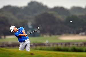 Ben Crane, the defending champion, hits off the 13th fairway during the first round of The McGladrey Classic PGA golf tournament Thursday, Oct. 18, 2012 in St. Simons Island, Ga.