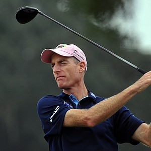 Jim Furyk watches his shot off the 16th tee during the first round of The McGladrey Classic PGA Tour golf tournament, Thursday, Oct. 18, 2012 in St. Simons Island, Ga.