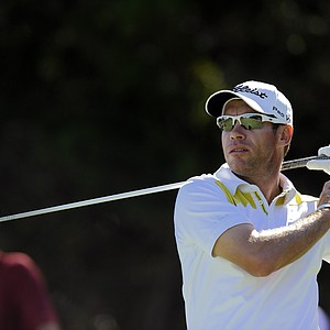 Brian Davis, of England, watches his tee shot down the 10th fairway during the third round of the McGladrey Classic PGA Tour golf tournament, Saturday, Oct. 20, 2012, in St. Simons Island, Ga.