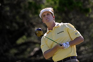 David Toms watches his tee shot down the second fairway during the third round of the McGladrey Classic PGA Tour golf tournament Saturday, Oct. 20, 2012 in St. Simons Island, Ga.