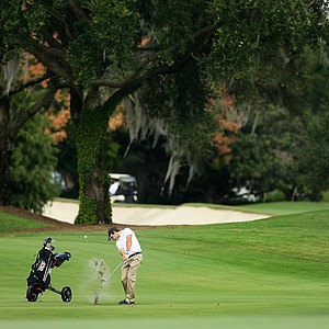 Jose Joia of UCF hits a shot at No. 18 during the Isleworth Collegiate Invitational.