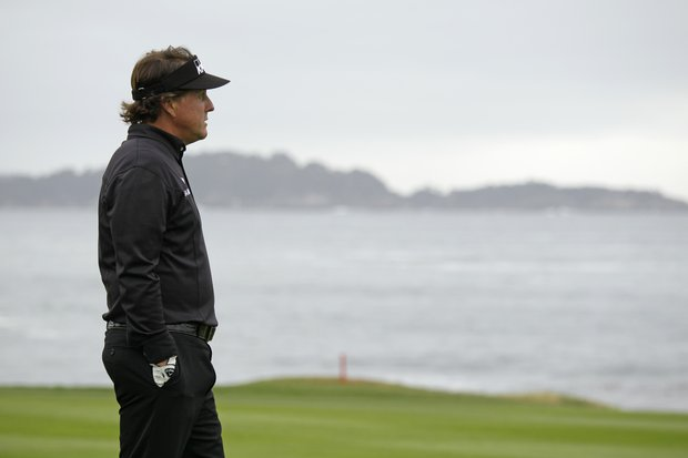 Phil Mickelson during the AT&T Pebble Beach National Pro-Am golf tournament in Pebble Beach, Calif., Sunday, Feb. 12, 2012. Mickelson won the tournament after shooting a 8-under-par 64 to finish at total 17-under-par.