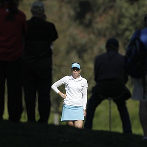 Paula Creamer waits for putt on the green of the 13th hole during the first round of the Kia Classic LPGA golf tournament on Thursday, March 22, 2012, in Carlsbad, Calif.