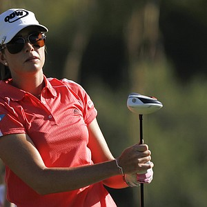 Paula Creamer watches the flight of her ball during the second round of the LPGA Kraft Nabisco Championship golf tournament in Rancho Mirage, Calif., Friday, March 30, 2012.