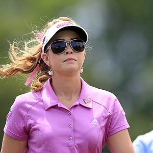 Paula Creamer, left, walks with Azahara Munoz, of Spain, on the fourth hole during the final round of the LPGA ShopRite Classic golf competition at Stockton Seaview Hotel and Golf Club in Galloway Township, N.J., Sunday, June 3, 2012.