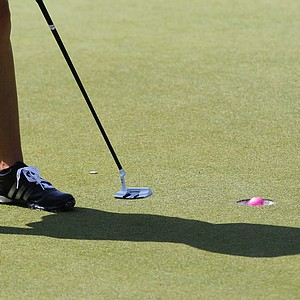 Paula Creamer putts on the 18th hole during the first round of the U.S. Women's Open golf tournament, Thursday, July 5, 2012, in Kohler, Wis.